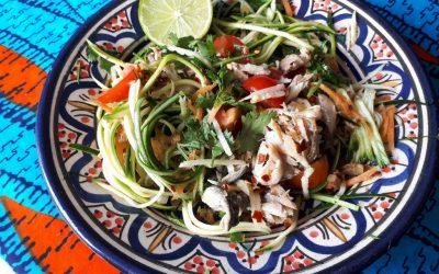 Raw Courgetti and Mackerel Salad